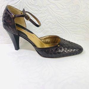 Antonio Melani Pewter Brown ankle strap heels 8